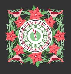 clock frame flowers vector image