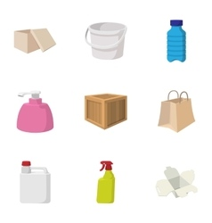 Container icons set cartoon style vector image