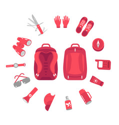 Contents a hiking backpack camping knapsack vector