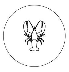 craw fish icon black color in circle isolated vector image