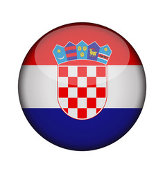 croatia flag in glossy round button of icon vector image