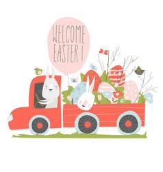 Cute cartoon bunny driving a car with easter eggs vector