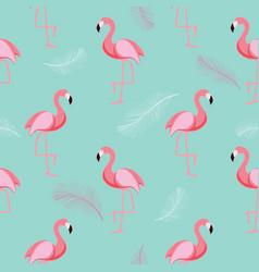 cute retro seamless flamingo pattern background vector image vector image