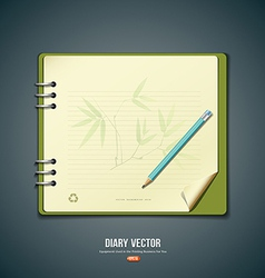 Diary green book with bamboo background vector