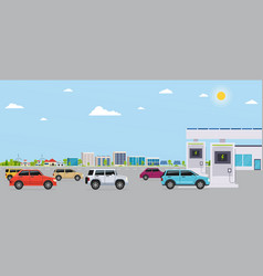 electro gas station with cars on background eco vector image