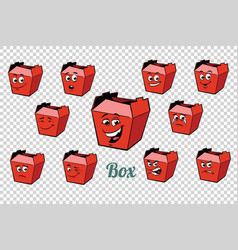 Fastfood and candy packing emotions characters vector