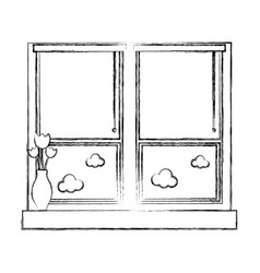 Figure window with blind curtain and fower inside vector