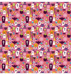 Flat Halloween Holiday Items Seamless Pattern vector