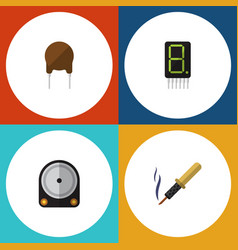 flat icon electronics set of hdd triode repair vector image