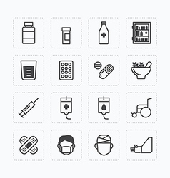 flat icons set of medical health care outline vector image