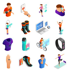 gadgets for active people isometric set vector image