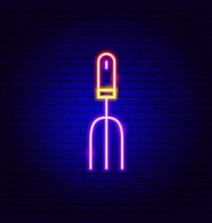 garden rake neon sign vector image
