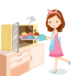 Girl Baking Cupcake vector
