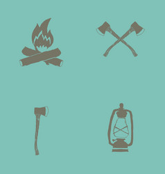Hand drawn forest camping vacation objects set vector