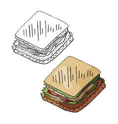 hand drawn sandwich black and white and color vector image