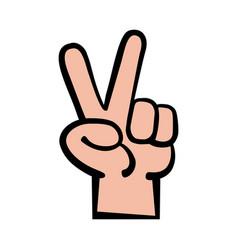 Hand peace sign cartoon vector