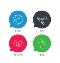 Handshake globe and gps satellite icons vector image