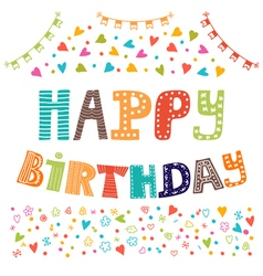 Happy birthday Cute greeting card with funny vector image