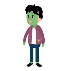 happy boy with frankenstein costume in halloween vector image
