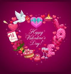 Heart of valentines day gifts flowers and ring vector