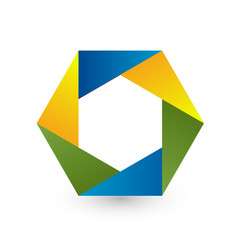 hexagon business shape icon vector image