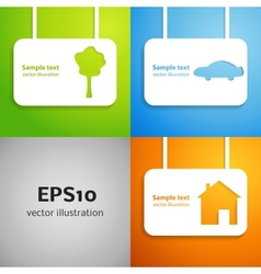 House car and tree applique background set vector