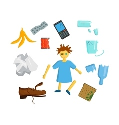 Household waste garbage icons vector