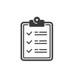 icon clipboard document with checklist vector image