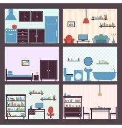 Interiors set flat vector image