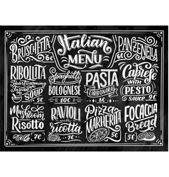 Italian food menu - names dishes lettering vector