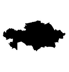 kazakhstan - solid black silhouette map of country vector image