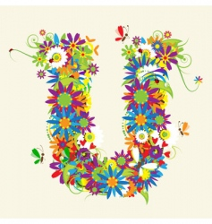 letter U floral design vector image