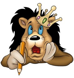 Lion with Pencil vector image