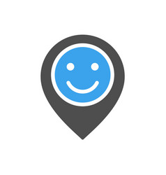 Location mark with happy face colored icon vector