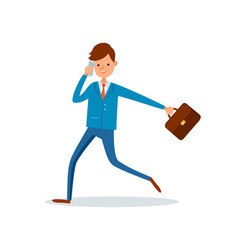 man director talking on phone and running to work vector image