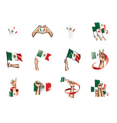mexican flag and hand on white background vector image