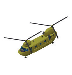 Military transport helicopter icon isometric vector