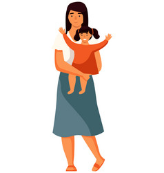 Mother stands with a small child in her arms vector