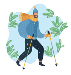 nordic walking man vector image