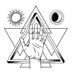 open hand with infinite triangle symbol vector image