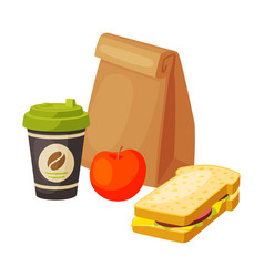 paper bag package with healthy breakfast coffee vector image