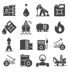 petrol icons set oil pump and petrol icon vector image
