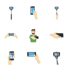 Photo on smartphone icons set cartoon style vector