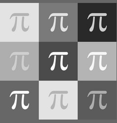 Pi greek letter sign grayscale version of vector