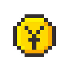 Pixel art yen golden coin retro video game vector