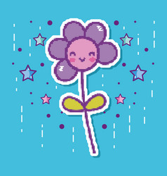Pixelated flower videogame character vector