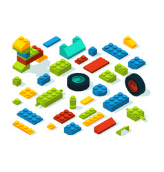 Plastic constructor isometric bricks isolate on vector