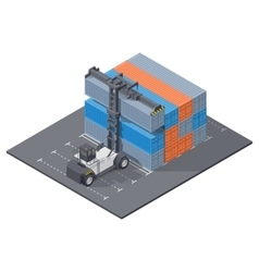 Port loader stacks 40 foot containers isometric vector