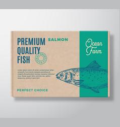 premium quality fish realistic cardboard box vector image