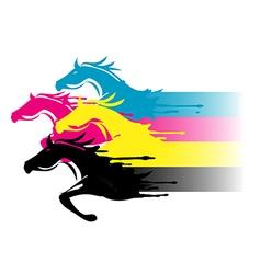 Print colors horses vector image